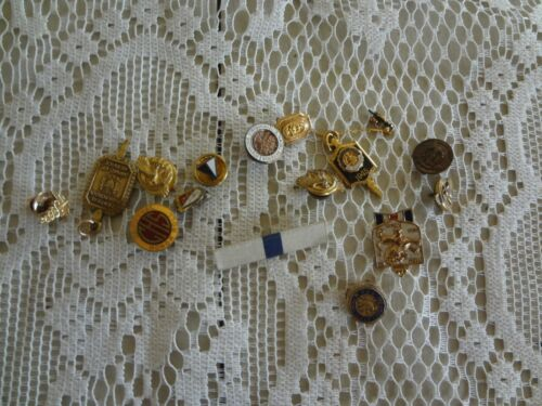 Vintage Mens Jewelry Lot pins tacks include Enamel Fraternal Medical Business