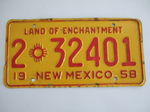 VINTAGE  1958 NEW MEXICO METAL LICENSE PLATE   2 * 32401