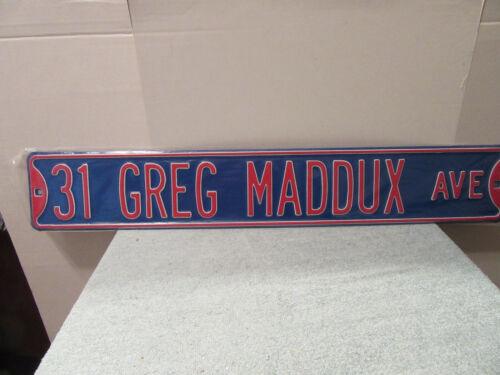 """Greg Maddux Chicago Cubs street sign 18 gauge metal 3 ft x 6"""" pitcher braves HOF"""