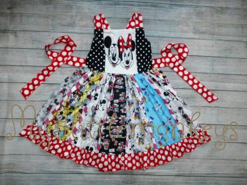 NEW Boutique Mickey Minnie Mouse Girls Sleeveless Ruffle Twirl Dress