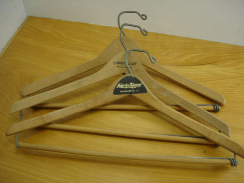 Lot 3 Vintage Wood Wishbone Curved Clothes Coat Hangers Bloomington Ill Ulbrich