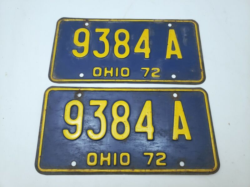 Ohio 1972 9384A Pair of License Plates