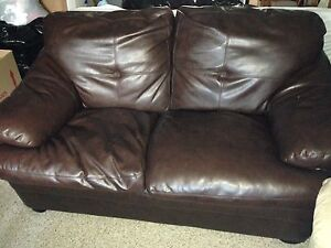 Faux brown leather couch