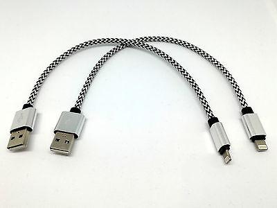 2x Ladekabel 20cm kurz Lightning 8-pin für iPhone 5 6 7 8 X Ipad weiss/silber