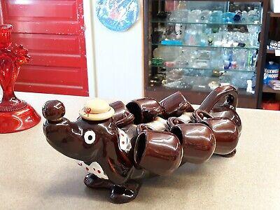 Vintage Dachshund/Wiener  Dog Ceramic Decanter With 6 Shot Glasses