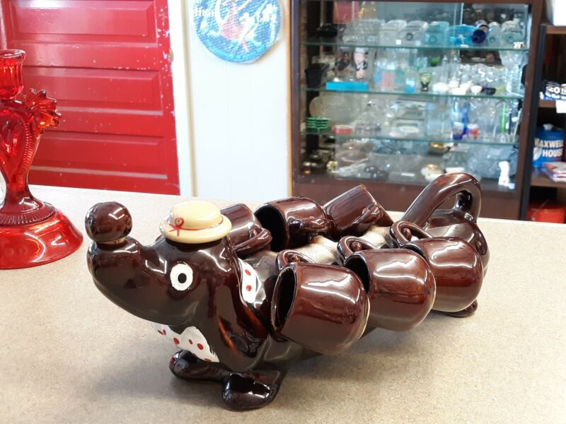 Vintage Dachshund/Wiener  Dog Ceramic Decanter With 6 Shot Glasses