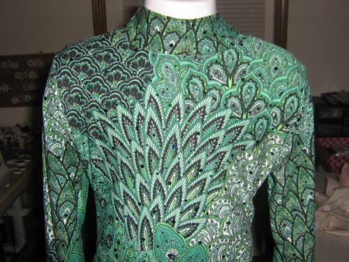 Green feather slinky western rail horsemanship shirt leadline girls-xs S M L XL