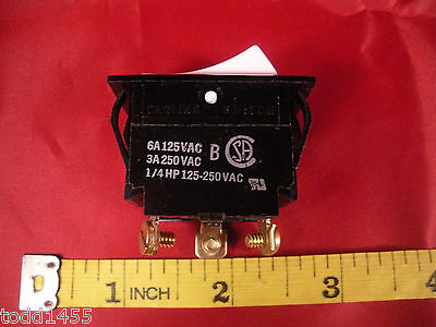 Carling Red Illuminated White Rocker Switch 3a 250v 6a 125v Ac 14 Hp New