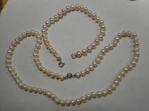 """Vintage Small 5mm Cultured White Pearl 16"""" CHOKER & BRACELET SET Knotted Ster"""
