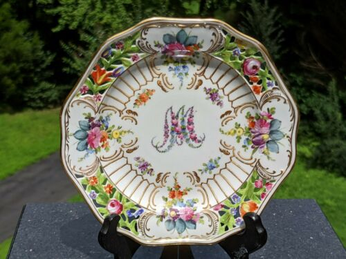 "Sevres-style Reticulated 6"" Marie Antoinette Dessert Plate (Carl Thieme Dresden)"