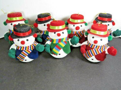 """7 Vintage Snowman Velvet Clothes 3.5"""" Christmas Ornaments Lot B1179"""