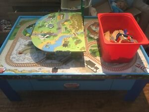 Thomas the Train table with tracks and trains