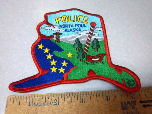 North Pole Alaska Embroidered Patch, North Pole Police colorful Souvenir Patch