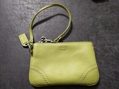 Coach Wristlet Lime Green Pebbled Leather Coin Purse Wallet Small