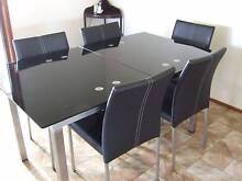 GLASS TOP EXTENDING DINING TABLE & 6 CHAIRS. West Tamworth Tamworth City Preview