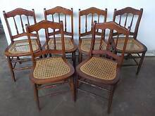 B30065 Set 6 Vintage Timber & Rattan Dining Kitchen Chairs Unley Unley Area Preview
