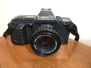 CANON T70 SLR Film Camera with Canon 50mm f1.8 Lens