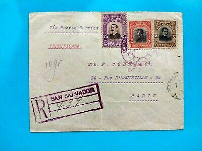 El. Salvador 1914 Registered Mail via Paris France