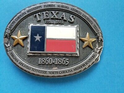 Vintage 1999 Texas Belt Buckle #BB1860TX Confederate State History Commemorative