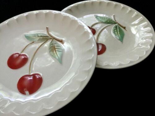 Pair Vintage Erphila Czechoslovakian Porcelain Pottery Luncheon Plates -Cherries
