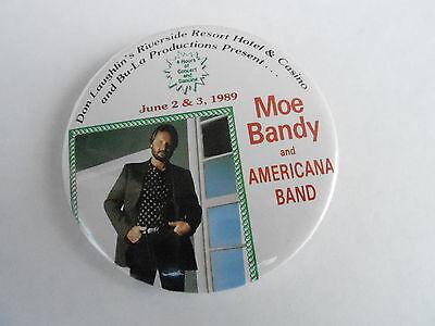 "VINTAGE NOS 3"" PINBACK BUTTON #40- 051 - MOE BANDY CONCERT 1989"