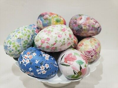 EASTER FLORAL DECOUPAGE EGGS TABLETOP BOWL FILLER DECOR Set of 12 (Decoupage Halloween Decorations)