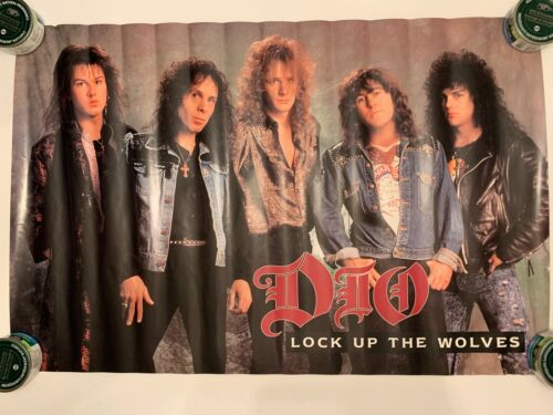 Vtg 1990 Dio Lock Up The Wolves Poster Ronnie James Heavy Metal Original Rolled