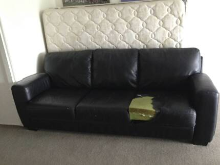 Black Leather Sofa Northbridge Willoughby Area Preview