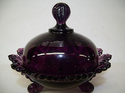 Amethyst purple glass klondyke pattern Covered Candy dish butter fluted scrolls