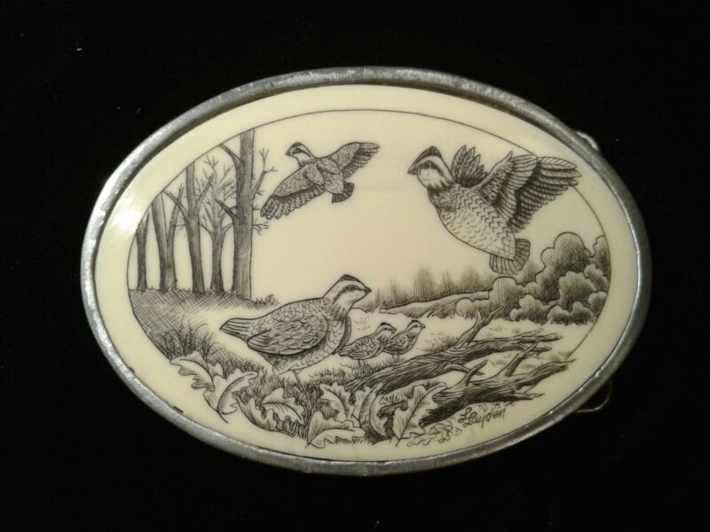 Belt Buckle with Real Scrimshaw Hand Made by Linda Layden Vintage One of a Kind