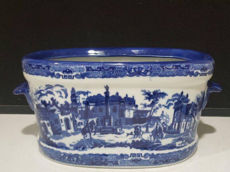 Victoria Ware Ironstone Flow Blue/White Chinoiserie Jardiniere Big Oval Planter