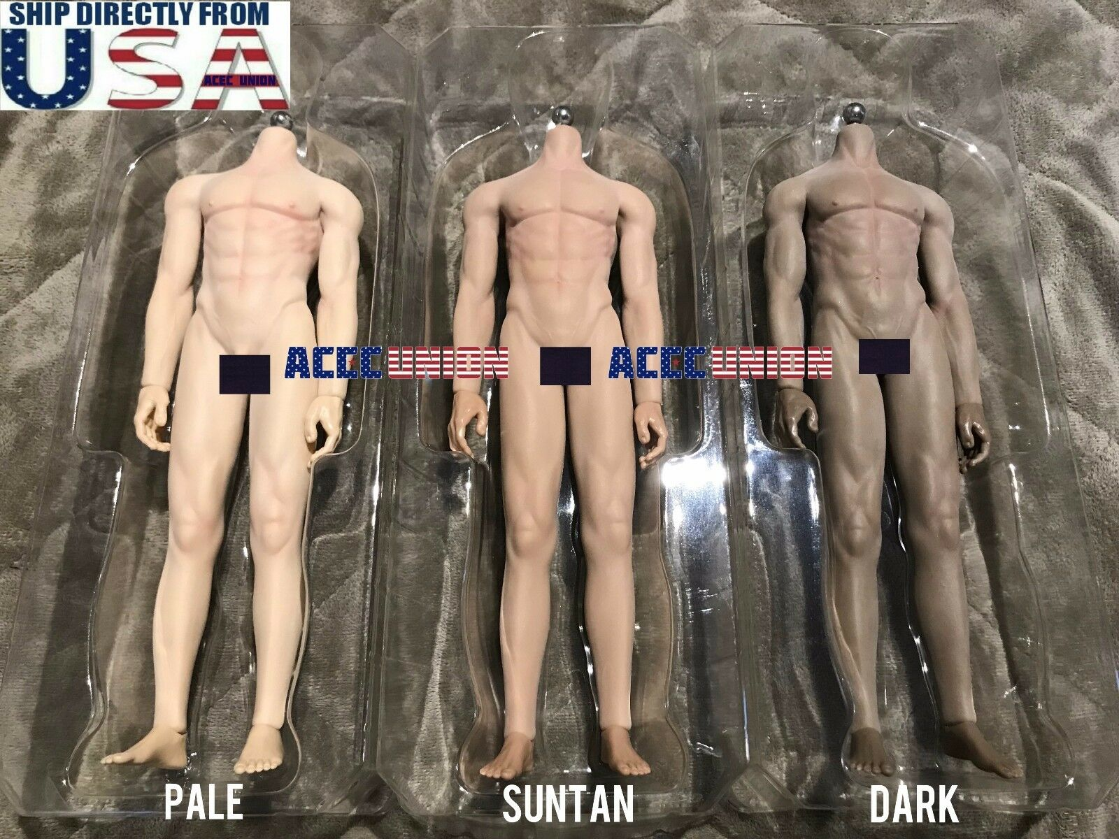 Купить JIAOUDOLL - JIAOUDOL 1/6 Flexible Seamless Male Muscular Figure Body PALE SUNTAN DARK U.S.A.