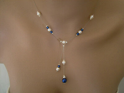 Cheap Blue Necklaces (Beaded Necklace Blue Sapphire/Ivory/White  Dress Bridal Wedding Evening)