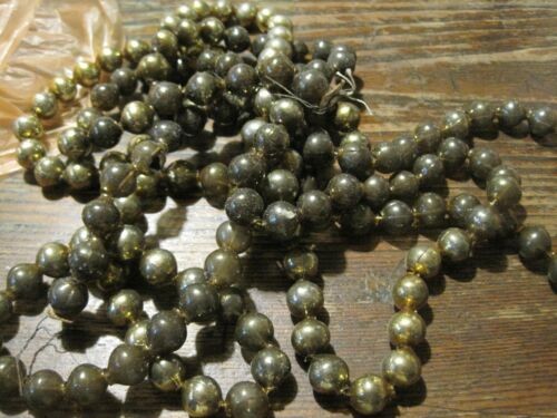 "100"" Antique Vintage Mercury Glass Gold Beads Garland Christmas OVER 1/4"" BEADS"