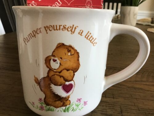 1983 Care Bears Stoneware Bear Coffee Mug Glass Cup by American Greetings,cute