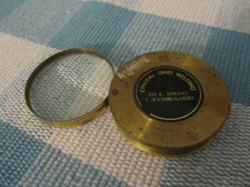 D264 Vintage Central Ohio Welding, Brass & Steel Folding Magnifying Glass