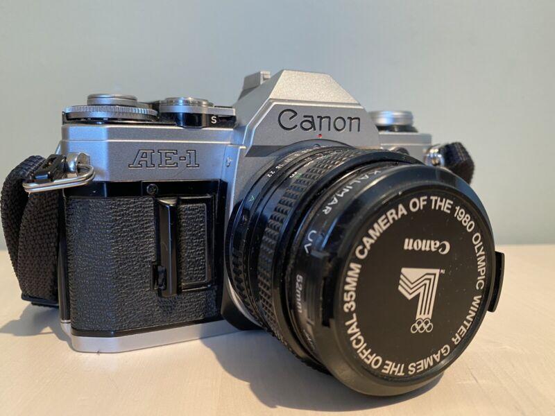 Mint Canon AE-1 35mm SLR Film Camera w/ 50mm f/1.8 Lens