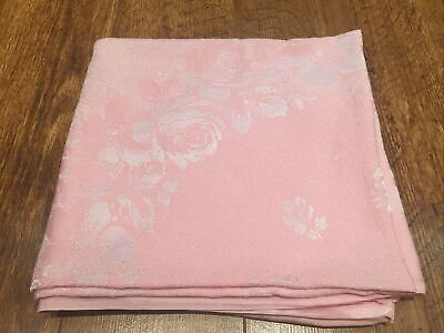 "Pink Cotton Damask Mid 20th Century Vintage Square Tale Cloth 46""x48"" EX CON"