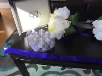 Wedding decorations blue/purple and silver