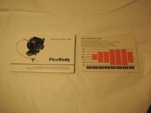 Hasselblad Camera Flex Body Instruction Manual + Quick Reference 7 Languages