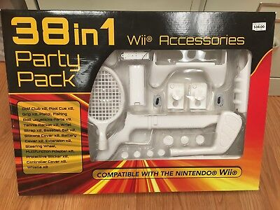 Nintendo Wii Sports Pack 38 in 1 Accessories Kit w/Gun, Golf Club & Wheel NIP