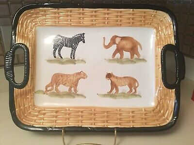 The Main Ingredients Pantry Ware Animal Print Serving Tray Porcelain Safari (Animal Serving Tray)