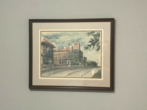 CHIROPRACTIC PALMER COLLEGE WATERCOLOR PAINTING PAUL N. NORTON  23 X 18""