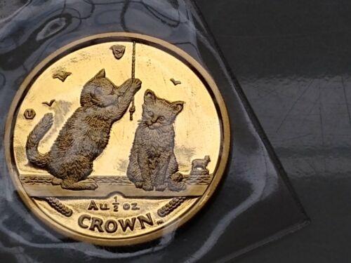 2001 Isle of Man 1/2 oz. GOLD CAT Somali Kittens  - Pobjoy Mint Sealed