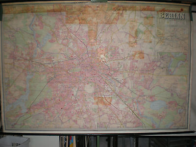 Schulwandkarte Wall Map Wall Map Card Berlin City of City Map 233x158cm ~ 1965