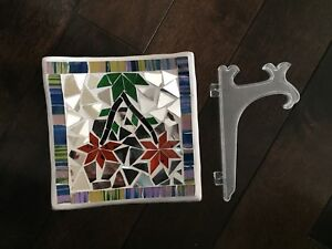 Decorative mosaic plate with stand