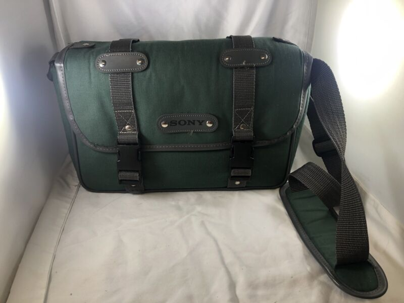 sony camera bag green large nice  with strap