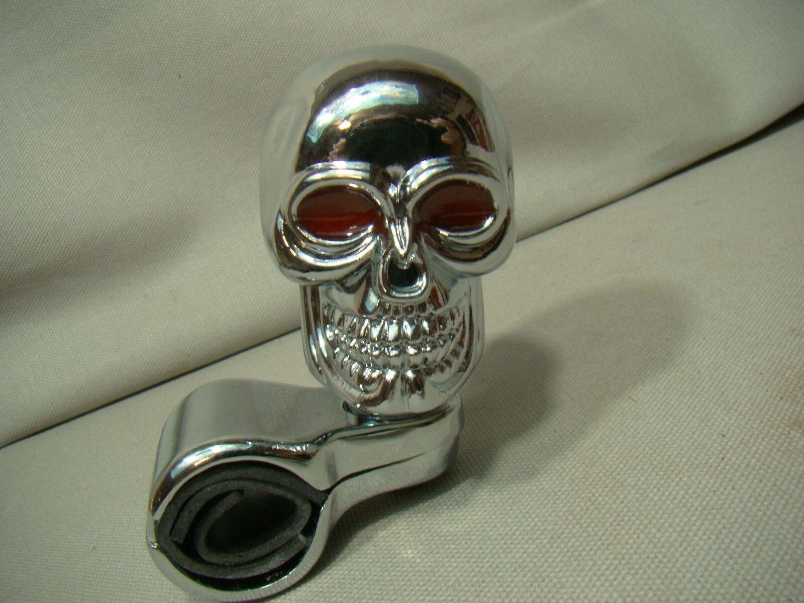 chrome skull srteering knob skeleton spinner skull brody skeleton suicide knob