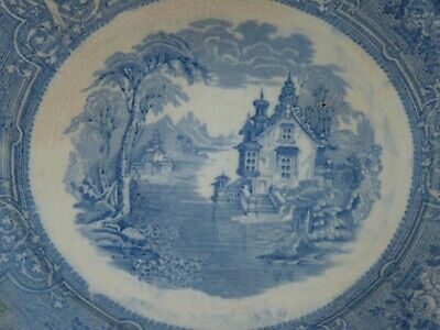 Antique American Blue & White Porcelain Dinner Plate Stamped Makers Mark American White Plate