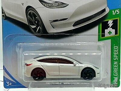 Hot Wheels NEW models for 2019 Tesla Model 3 White HW GREEN SPEED - read